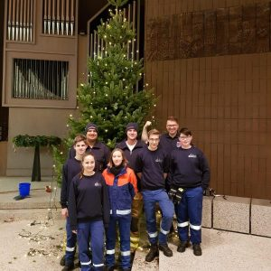 Unterstützung  beim Weihnachtsbaum stellen